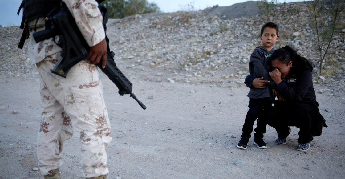 No es EUA: migrante suplica a la Guardia Nacional que la dejen cruzar con su hijo