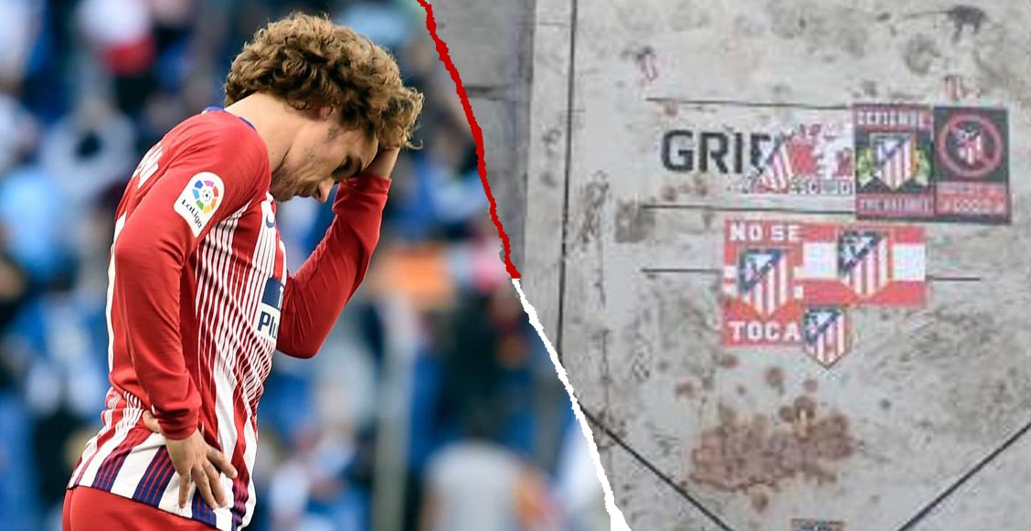 Aficionados 'borraron' la placa de Griezmann en el Wanda Metropolitano por 'traidor'