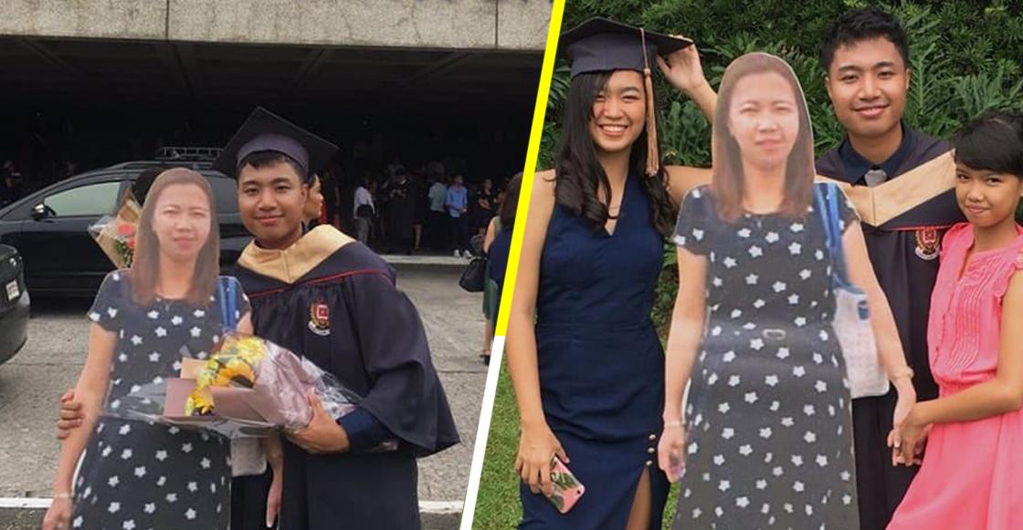 Este chico llevó una foto tamaño real de su mamá fallecida a su graduación y sí, estamos llorando
