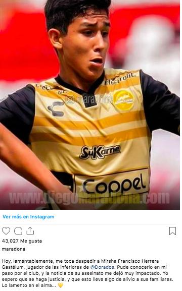 El mensaje que Maradona le dedicó al juvenil de Dorados que fue asesinado
