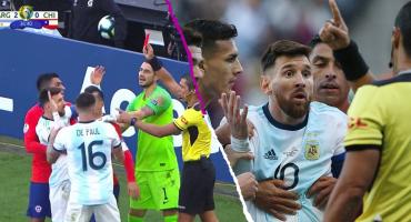 Messi, expulsado tras una serie de empujones con Medel en la Copa América