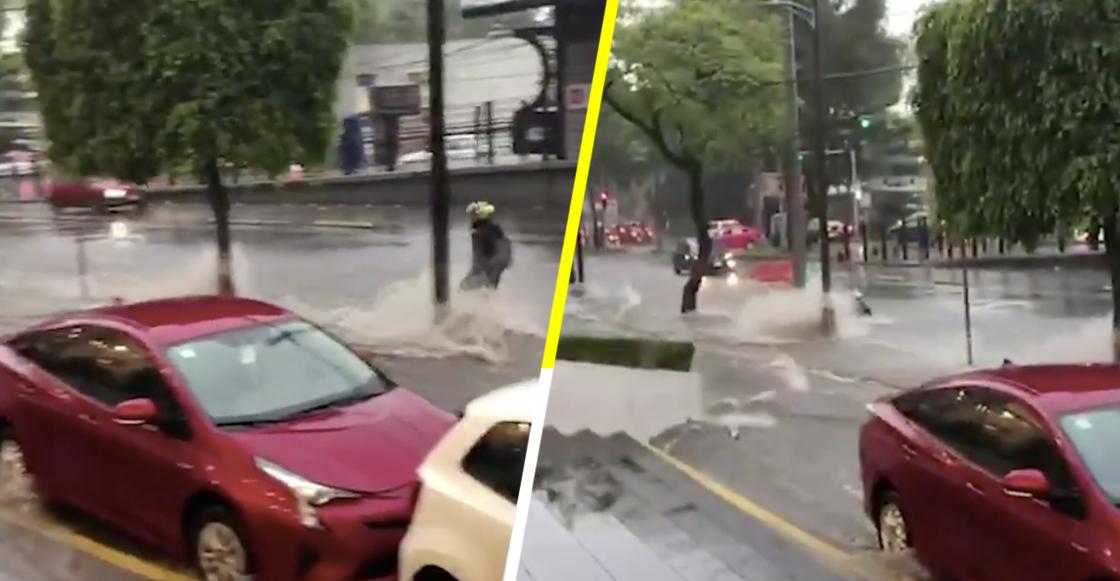 Malditas lluvias: Captan a motociclista siendo arrastrado por corriente de agua en Tlalpan