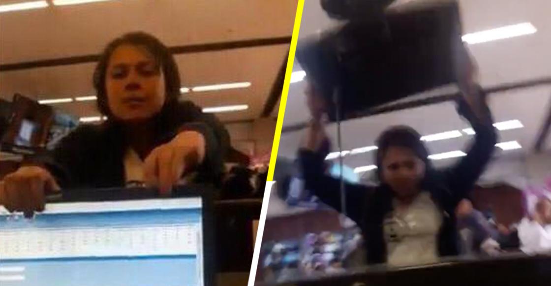 Ya siéntese nivel: Señora llega tarde al aeropuerto, no la dejan subir al avión y causa destrozos