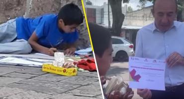 ¡Todo un ejemplo! Becan a este niño que fue captado vendiendo dulces en las calles de Morelia