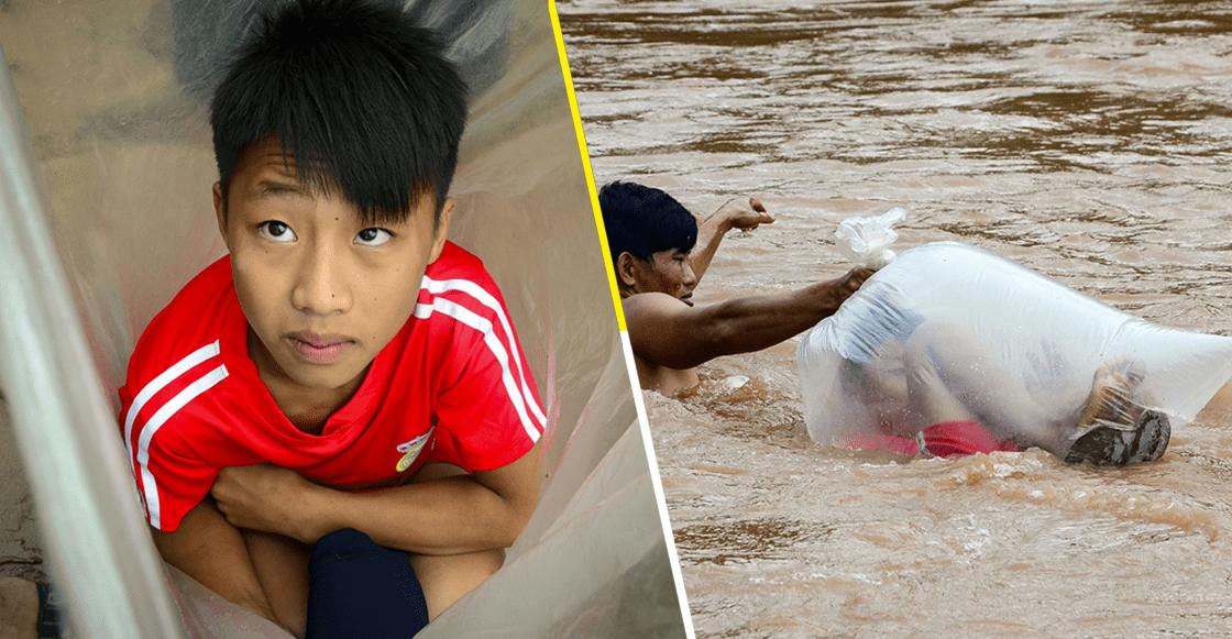 ¡Qué locura! Niños en Vietnam usan bolsas de plástico para poder llegar a la escuela