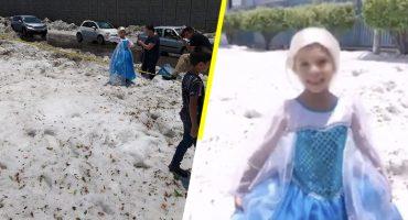 Niña se disfraza de Elsa y aprovecha la granizada en Jalisco para hacerse una sesión de fotos