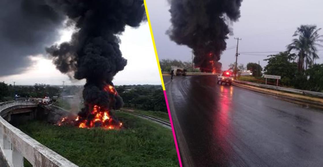 Un tráiler cargado de diésel en Coatzacoalcos cayó de un puente y explotó