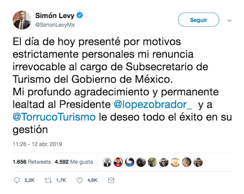 tuit-simón-levy-renuncia-turismo