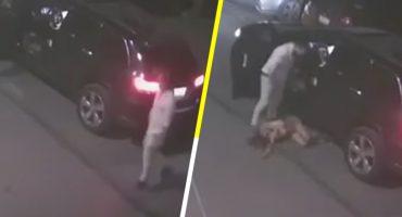 HDSPM: Hombre es captado en video mientras agrede y patea a la madre de su hija