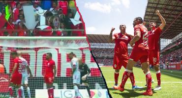 Toluca marcó su primer gol en casa gracias a las flechas que alzó la afición atrás de la portería