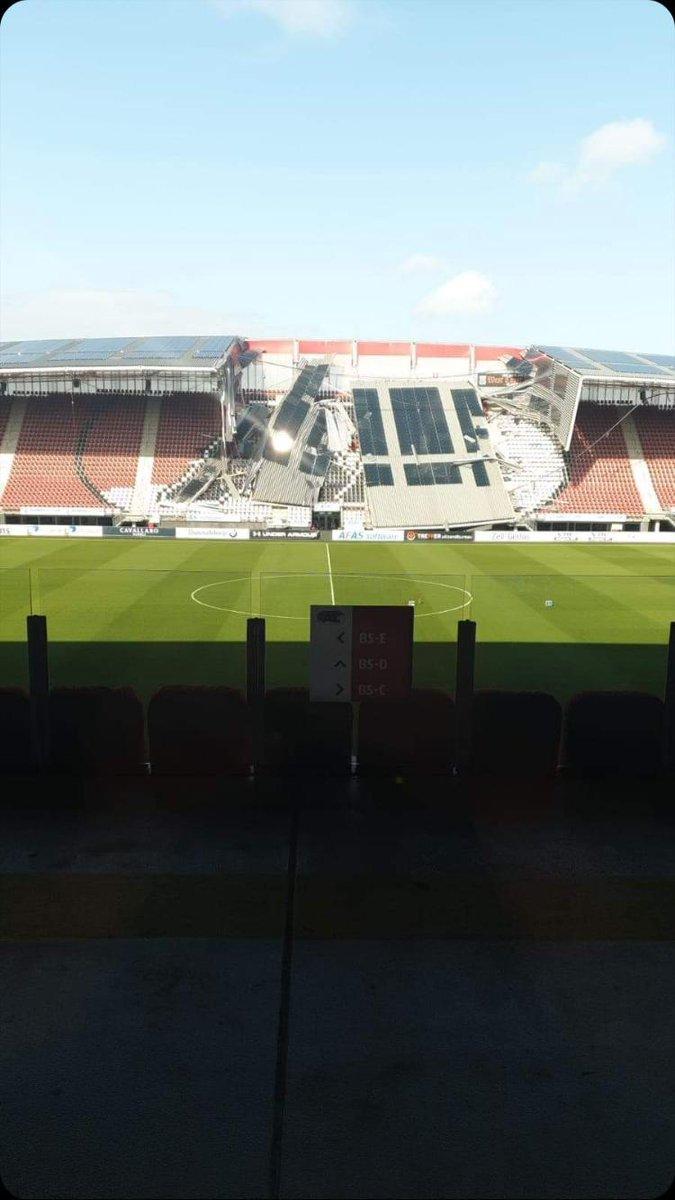 Estadio del AZ Alkmaar sufrió un 'derrumbe parcial' por fuertes vientos