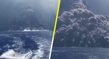 Como de película: Así fue la huida de un barco de turistas tras erupción de volcán 😱