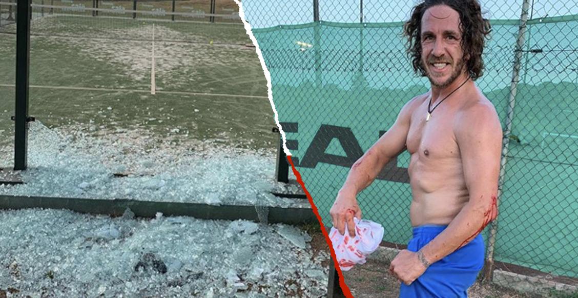Así quedó Carles Puyol tras 'destrozar' un muro de cristal jugando Pádel