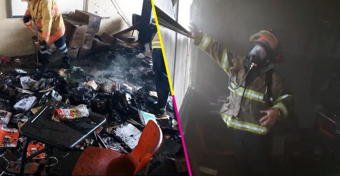 Libros de texto fueron quemados por ladrones en una primaria de Pachuca