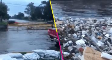 Fuertes lluvias y acumulación de basura provocan desbordamiento de ríos en Naucalpan