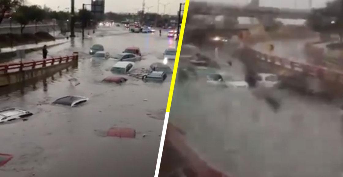 Fuertes lluvias en Nuevo León provocan inundaciones y dejan a varios vehículos varados