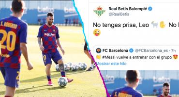 Messi volvió a entrenar y el Betis reaccionó de manera épica en Twitter