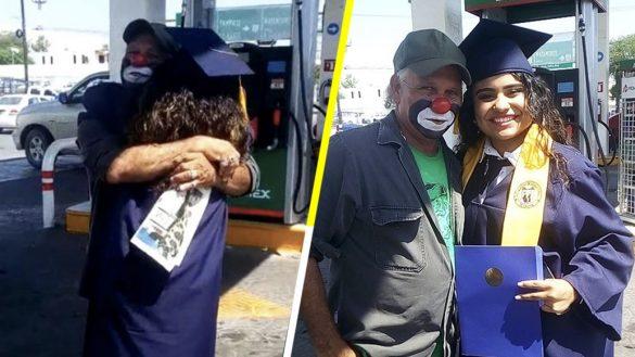 Señor que trabaja como payaso en una gasolinera no puede asistir a la graduación de su hija y ella lo sorprende