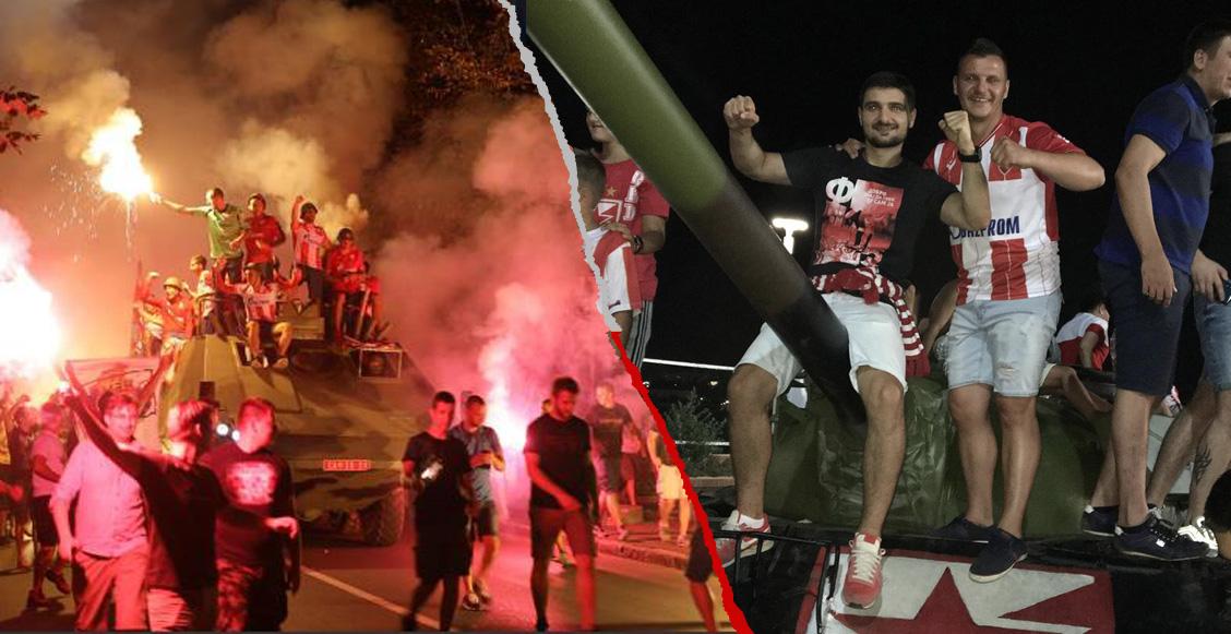 ¿Habrá castigo? Ultras del Estrella Roja llevaron un tanque de guerra a partido de Champions