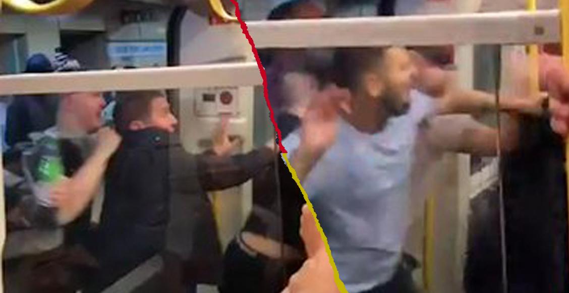 Fans del Liverpool y Manchester City se agarraron a golpes en el metro de Londres