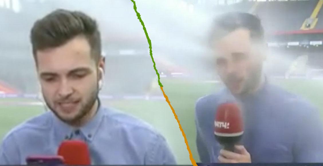 Reportero terminó empapado en plena transmisión por culpa de los aspersores