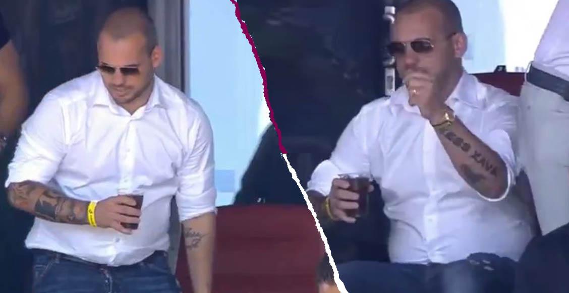 ¿Qué te panzó? A 13 días de su retiro, Sneijder reaparece 'pasado de tortas'