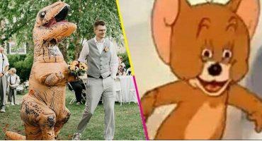 WTF?! Dama de honor se presenta disfrazada de dinosaurio a la boda de su hermana