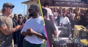 Crossover nivel: Checa a Brad Pitt hangueando con Kanye West en su 'Sunday Service'