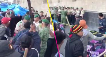 Manifestantes arremeten contra Policía Militar en Palacio Nacional