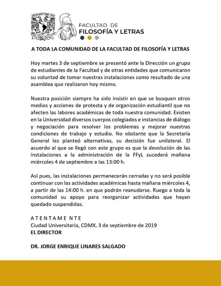Facultad de Filosofía y Letras de la UNAM entra en paro de 24 horas