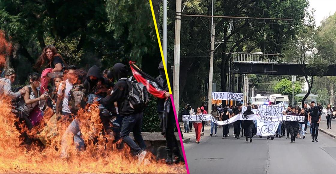 A un año del ataque en Rectoría, estudiantes del CCH Azcapotzalco marchan a CU