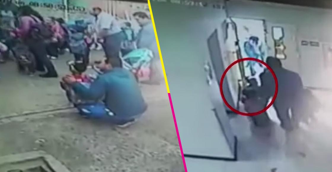 Niño de dos años llega tarde al kinder, lo sacan de la escuela y se queda solo en la calle