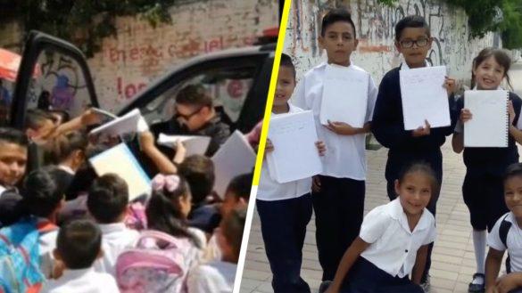 AAAAW: Un policía regala autógrafos y dedicatorias a niños de una primaria en Guanajuato