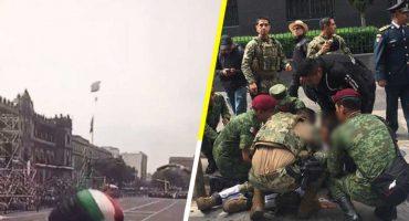 Paracaidista de la Semar se lesiona durante el desfile del 16 de septiembre 😨