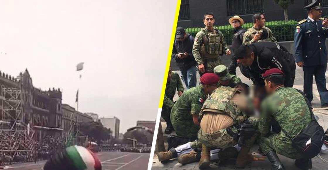 Sufre lesiones en el rostro paracaidista durante el desfile militar