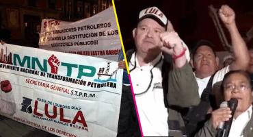 Petroleros protestan en Palacio Nacional, piden la destitución de Carlos Romero Deschamps