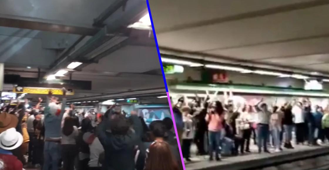 """Este es mi país y esta es su gente: Usuarios hacen """"la ola"""" en andén del Metro"""