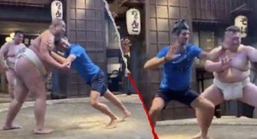 El divertido día de Novak Djokovic practicando sumo en Japón