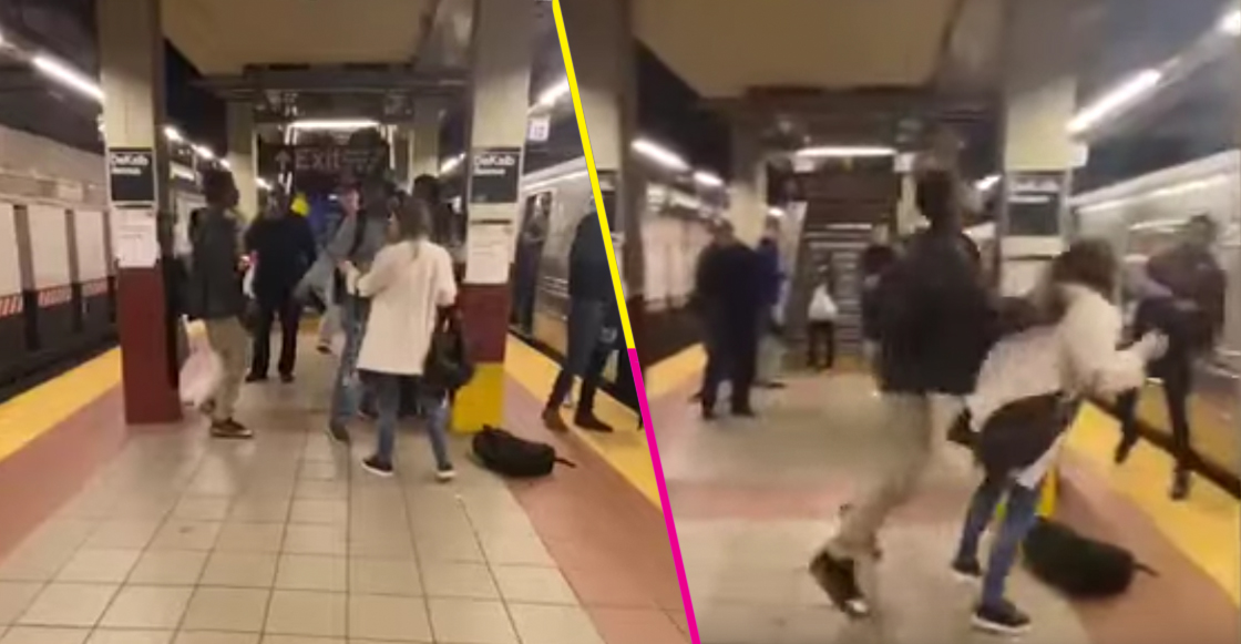 Mundo enfermo y triste: Hombre empuja a una mujer contra vagón del metro