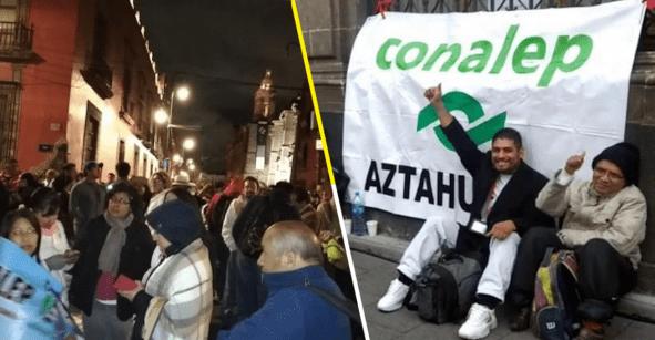 Trabajadores del Conalep protestan en Palacio Nacional; piden mejores sueldos y basificación