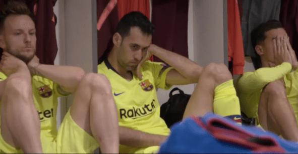 Serie revela primeras imágenes del vestidor del Barcelona tras la tragedia en Liverpool