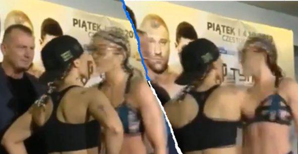 Boxeadora besó a su rival en el pesaje y provocó una 'pelea' anticipada