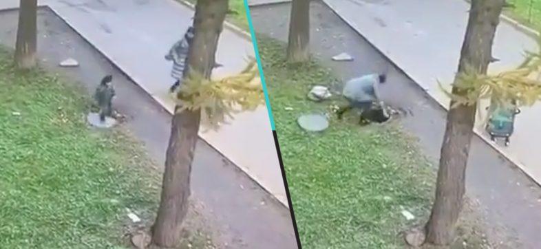 ¡Mamá sin capa! Mujer abre una coladera con las manos para salvar a su bebé