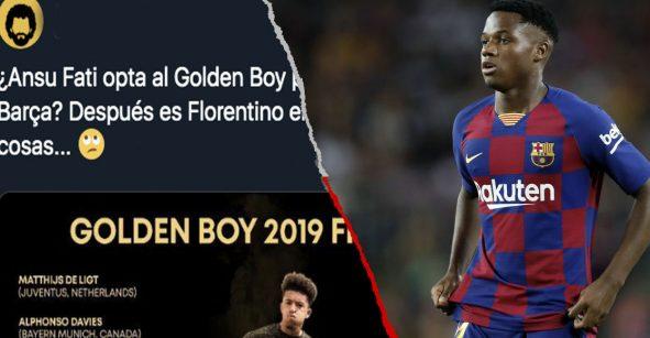 Le llovieron críticas y ataques a Ansu Fati por estar en los finalistas del Golden Boy 2019