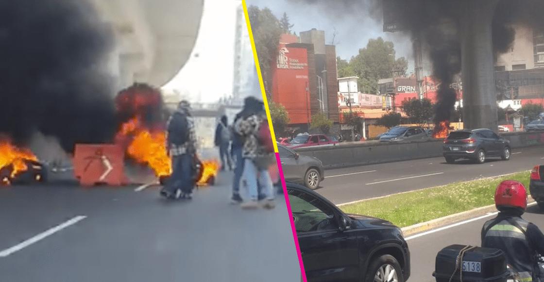Encapuchados incendiaron llantas y bloquearon la circulación en Periférico Sur