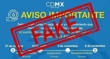 Fake news! No hay cortes de agua programados para la CDMX