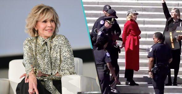 Sale video en el que Jane Fonda es arrestada durante una protesta