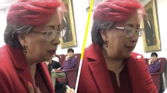 Graban a diputada de Morena reclamando un lugar y la apodan #LadyButacas