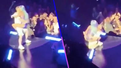 Santo trancazo que se metieron: Fan carga a Lady Gaga y ambos van a dar al piso