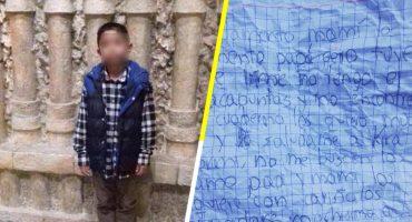 Niño de 8 años escapa de su casa por perder sus útiles escolares; deja una carta a sus padres